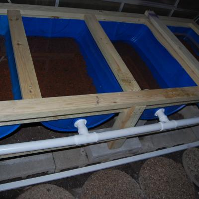 Aquaponic grow beds with piping