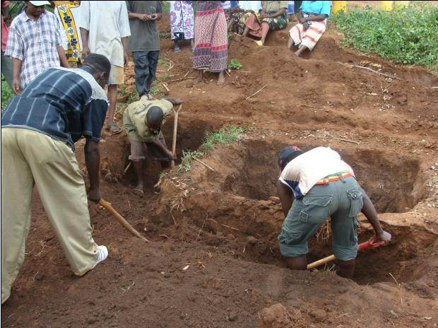 Hand digging of the well